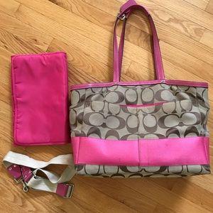 Coach Pink & Tan large C Diaper Bag